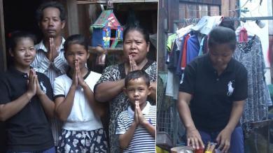 Chanthouen avec sa famille et en train de travailler