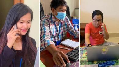 Sivorn, Ramorn et Somaly sont membres de l'équipe chargée de suivre les enfants à risque