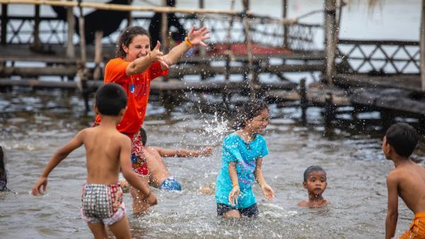 Jeux d'eau pendant les camps d'été