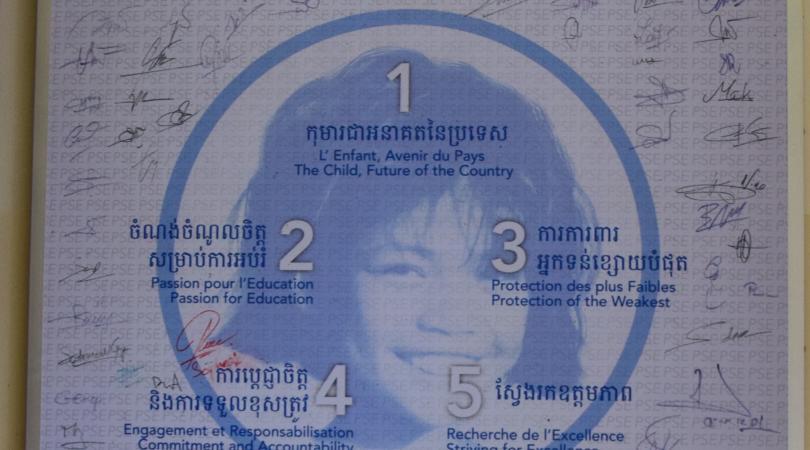 Les valeurs défendues par PSE sont affichées dans notre centre de Phnom Penh