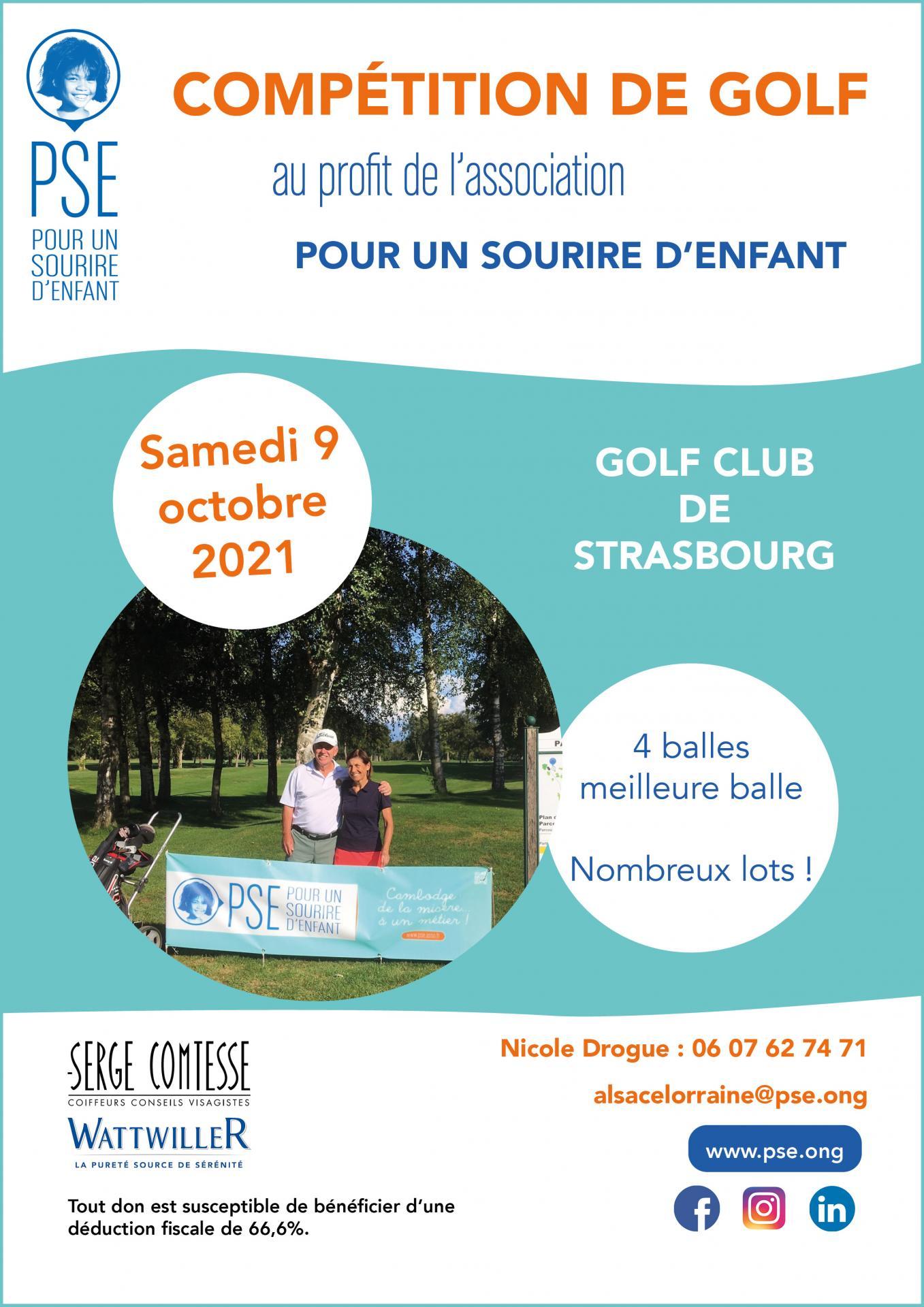 Affiche compétition de golf PSE Alsace Lorraine octobre 2021