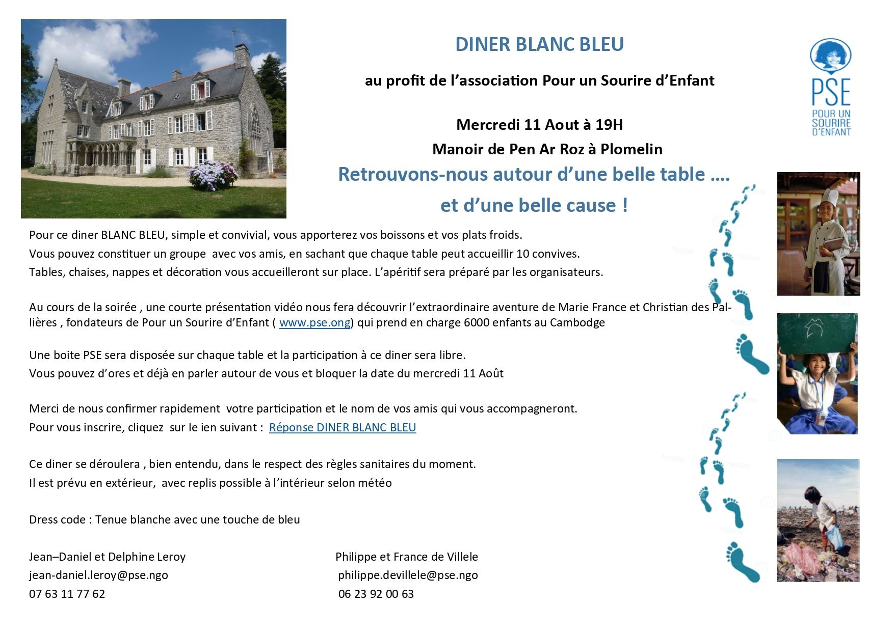 Invitation diner blanc bleu à Plomelin