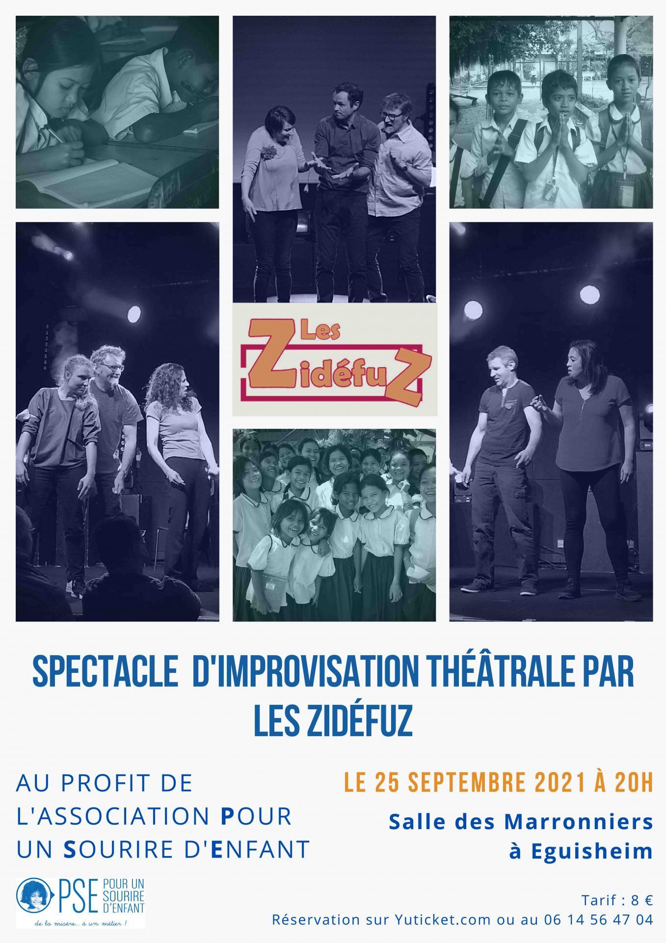 Affiche spectacle d'improvisation au profit de PSE - septembre 2021